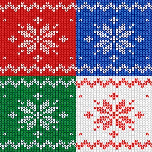 Padrão sem emenda Tecido de malha. Floco de neve de ornamento. Lã. Decoração de inverno. Vermelho. Vetor.