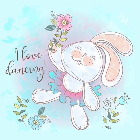 Funny cute Bunny dancing.I love dancing. The Inscription Vector