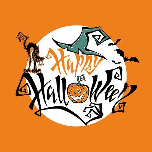 Zucche Di Halloween Cartoni Animati.Halloween Magico Lettering Fiabesco Scheda Di Tutti I Santi
