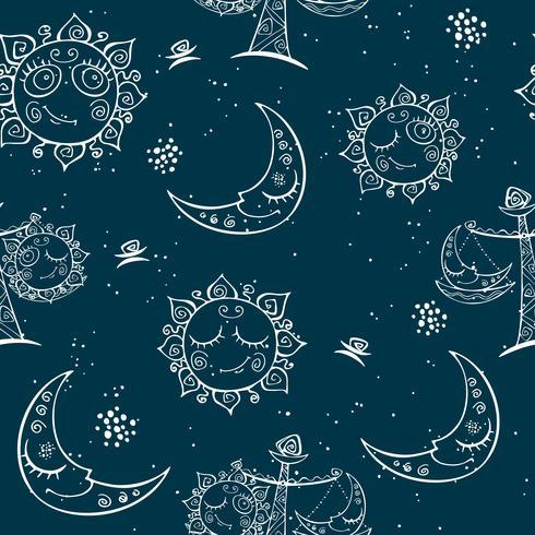 Sol luna Libra. Diversión de niños sin patrón. Vector
