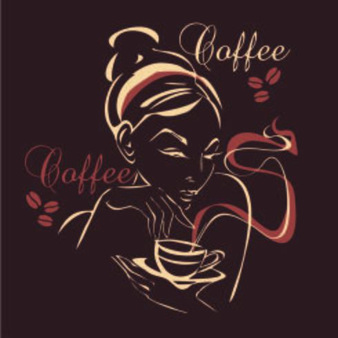 Flickan dricker kaffe. Vektor.