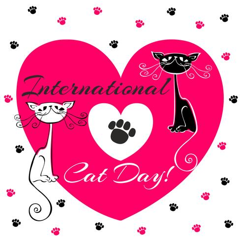 International day of cats. Holiday card. White and black cats. Cartoon-style. Funny funny kittens. Cat's footprints. Heart. Vector illustration.