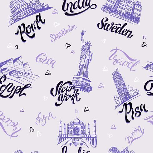 Nahtloses Muster. Länder und Städte. Beschriftung. Skizzen. Sehenswürdigkeiten. Reise. Italien, Rom, Amerika, Schweden, Indien, Ägypten. Vektor