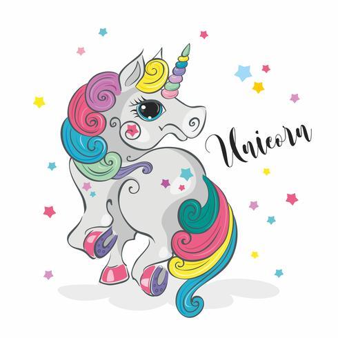 Magic enhörning. Fairy pony. Rainbow Mane. Tecknad stil. Vektor.