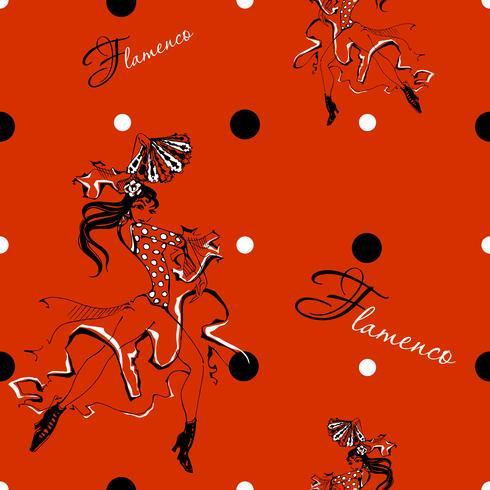 Jeune fille danse flamenco. Modèle sans couture. Gitan. Fond de pois. Rouge. Vecteur.