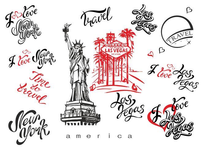 ETATS-UNIS. Ensemble d'éléments pour la conception. Las Vegas. New York. Croquis de Landmark. Statue de la Liberté. Lettrage inspirant. Modèles d'étiquettes prêtes à l'emploi. Vecteur. vecteur