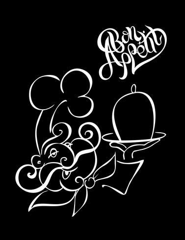 Chef. Logotype. Cuisinier. Bon appétit. Lettrage élégant. Fond noir. L'effet de la craie. illustration vectorielle