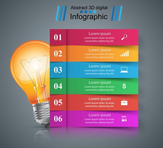 Infographik Design. Glühbirne, Licht-Symbol.