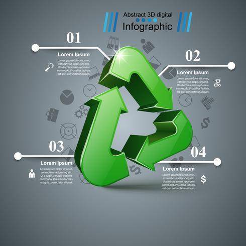 Riciclare infografica aziendale. Quattro oggetti vettore