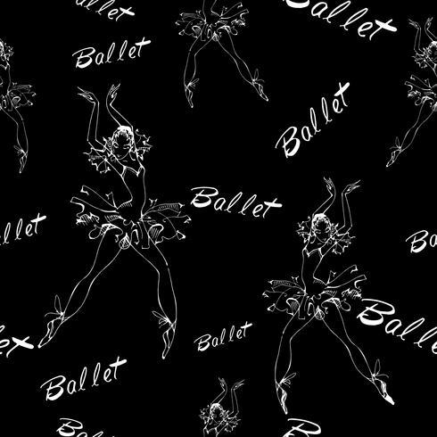 Seamless pattern. Ballet. Dancing ballerinas. Inscription. Vector illustration.