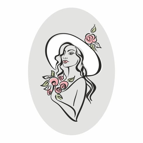 Portrait of a girl in a hat with flowers. Vintage. Elegant girl model. Vector.