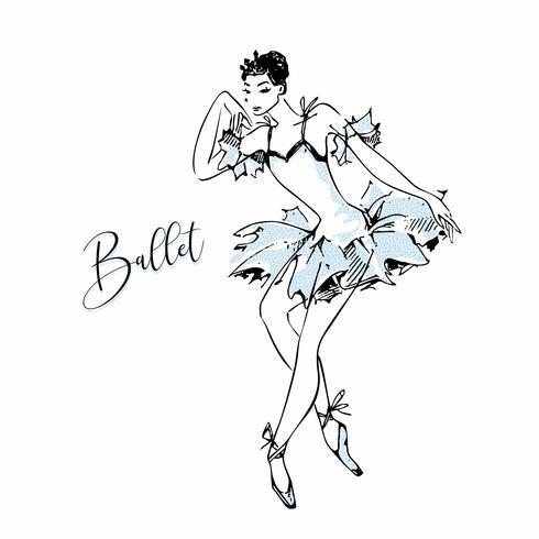 Ballerina. Weißer Schwan. Ballett. Tanzen. Vektor-illustration