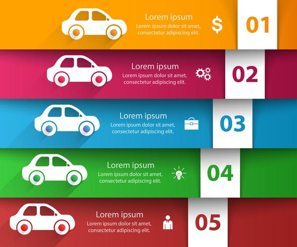 Modello di progettazione infografica strada e icone di marketing. Icona dell'automobile