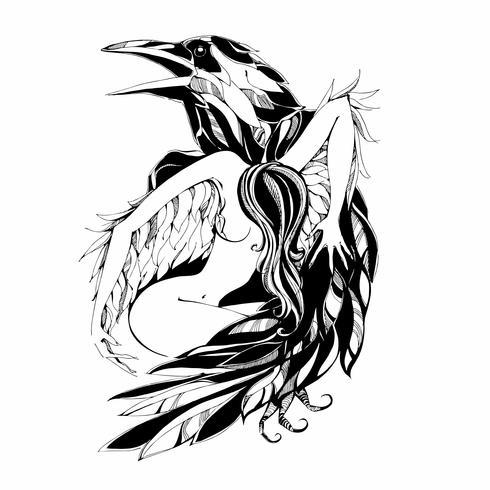 Rabe und Engel. Tätowierung. Schutz. Patron. Vektor-illustration