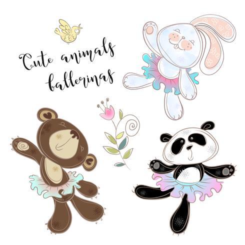 Character toy set. Bear Bunny and Panda in ballet tutus. Vector