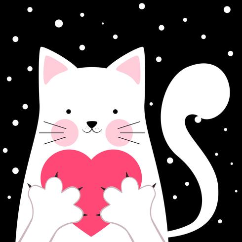 Gracioso, lindo gato. Amor ilustracion