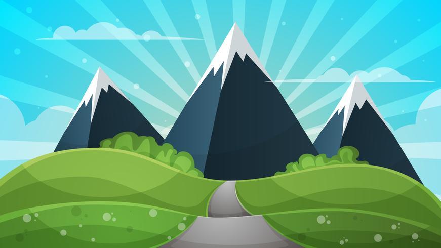 Paisagem dos desenhos animados - ilustração abstrata. Sol, raio, brilho, colina, nuvem, montanha.