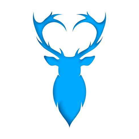 Rebanada de ciervo de papel. Azul y blanco.