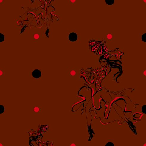 Chica bailando flamenco. Patrón sin costuras Gitano. Fondo de lunares. Granate. Vector.