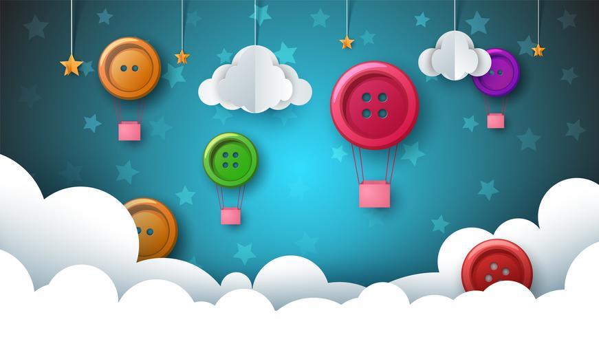 Ilustración de papel del paisaje. Globo de aire, botón de coser, nube, estrella, cielo.
