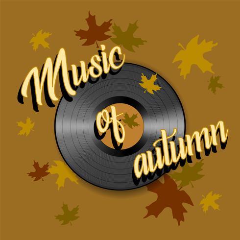 La música de otoño. Letras. Expediente de gramófono. Vector.