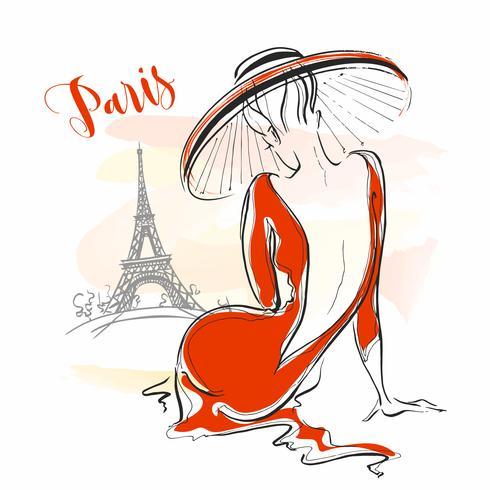 Elegant tjej i en hatt i Paris. Snygg modell. Vektor