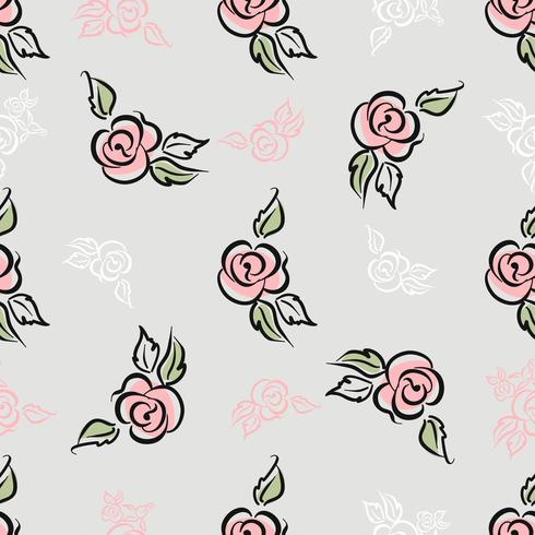 Seamless pattern. Floral print. Roses. Decorative. Vector