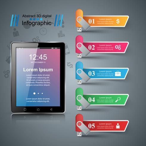 Gadget numérique, icône de la tablette smartphone. Infographie de l'entreprise.