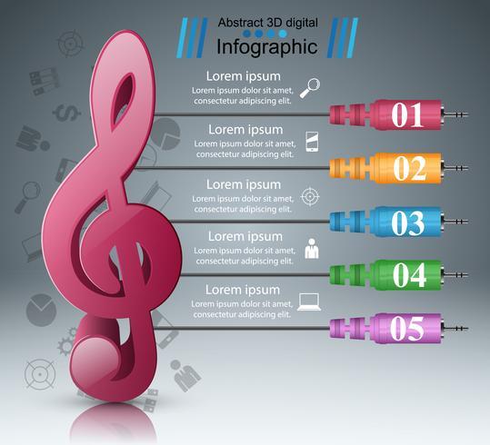 Infografía musical. Icono de clave de agudos. Icono de nota