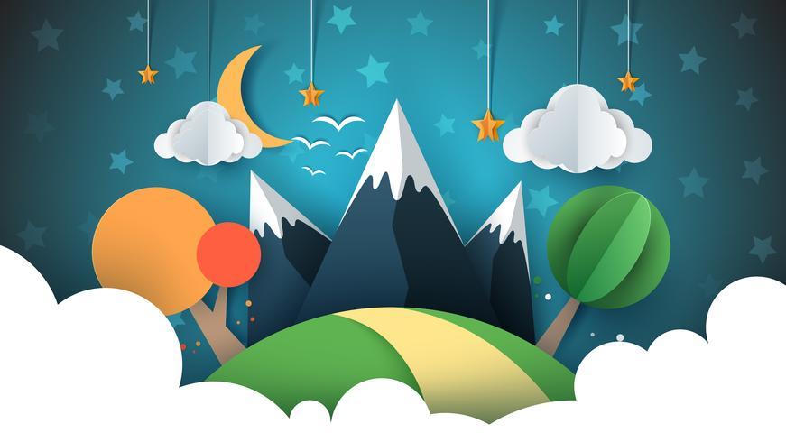 Ilustración de viaje de papel sol, nube, colina, montaña, ave.