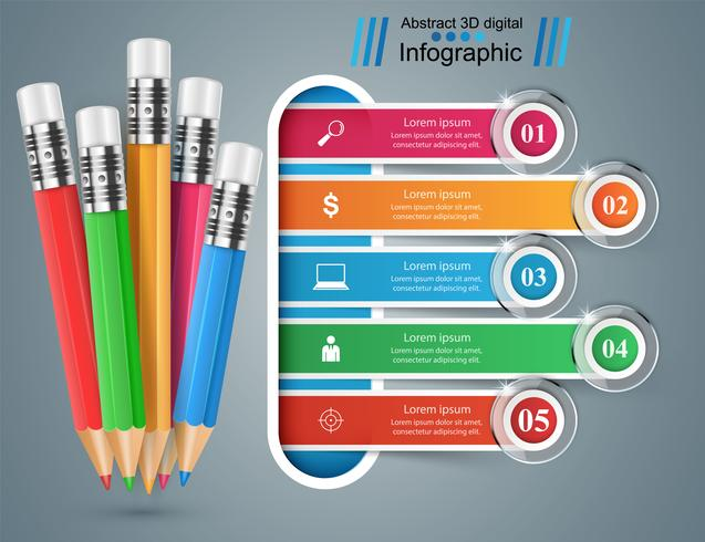 Penna, utbildning ikon. Business infographic.
