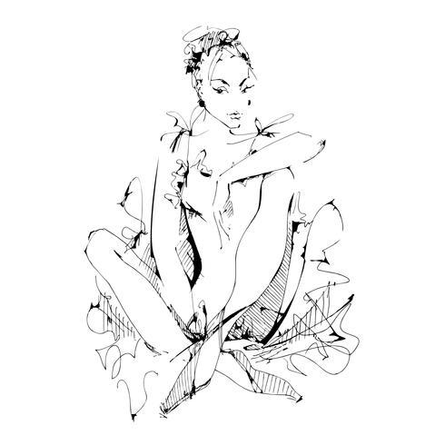 Balett. Ballerina. Dansare. Logo.Vector illustration.