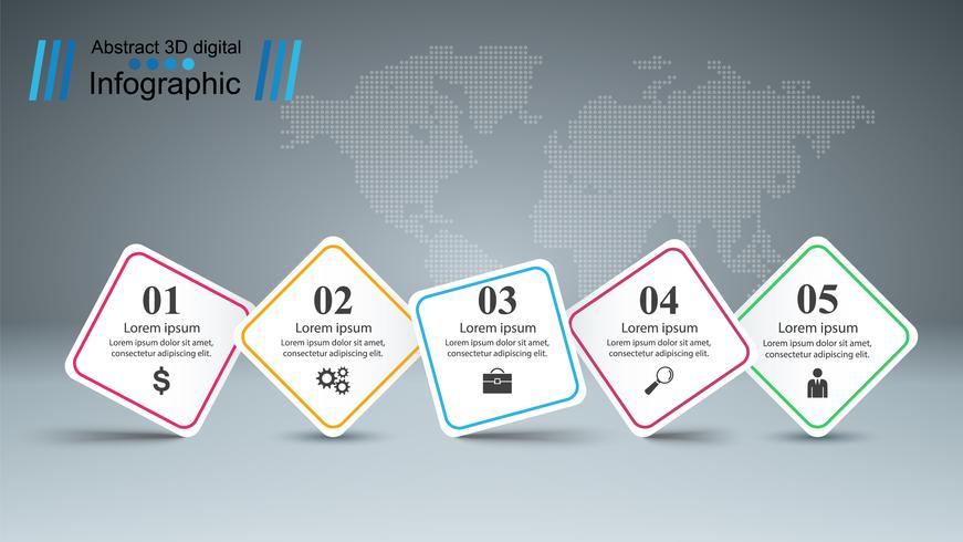 Infografía de negocios. Cinco artículos de papel. vector