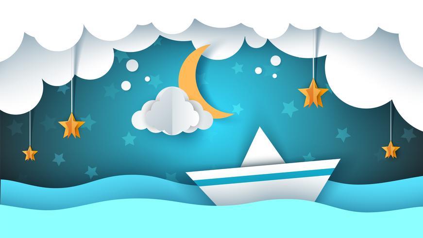Ilustração de origami de papel. Navio, nuvem, estrela, lua.