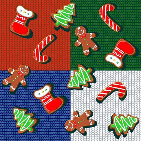 Patrón sin costuras Galletas del pan de jengibre de la Navidad en un fondo hecho punto. Manta de lana a cuadros. Labor de retazos. Regalo de navidad Fondo festivo Vector.
