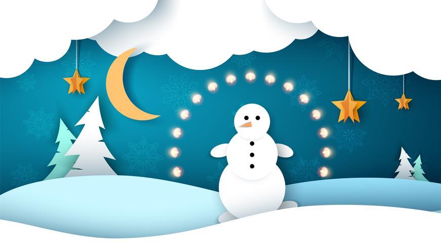 Paesaggio invernale Pupazzo di neve, abete, stella, luna. vettore