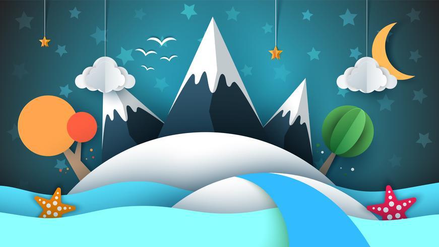Isla de papel cartoog. Estrella, montaña, nube, luna, mar, estrella, árbol. vector