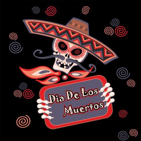 Day of the dead. Dia de los Muertos. Holiday card. Vector.