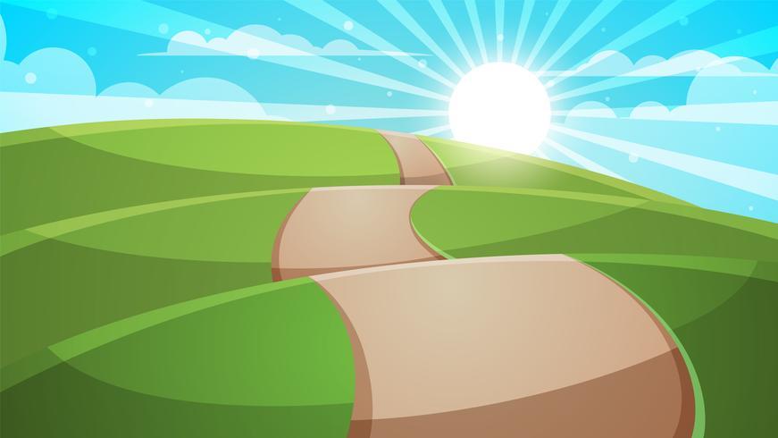 Paysage de colline de dessin animé. Route, illustration de voyage.