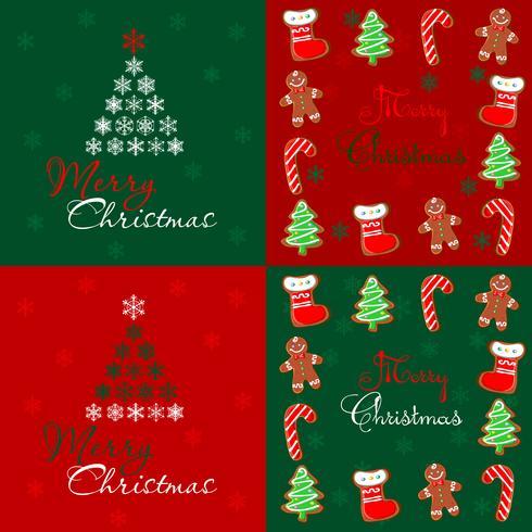 Nahtloses Muster. Fröhliche Weihnachten. Patchwork. Lebkuchen. Rot. Grün. Vektor.