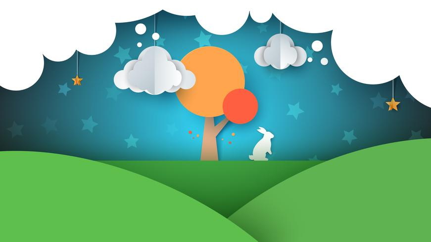 Paisagem de papel dos desenhos animados. Ilustração de coelho. Árvore, nuvem, céu, estrela.