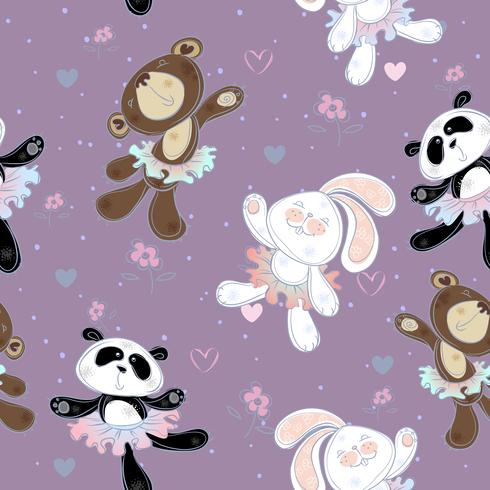 Patrón sin fisuras con lindos pequeños animales. El conejito el oso y el panda. Bailarinas, vector