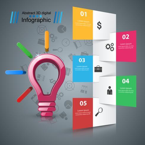 Design infografico Lampadina, icona della luce. vettore