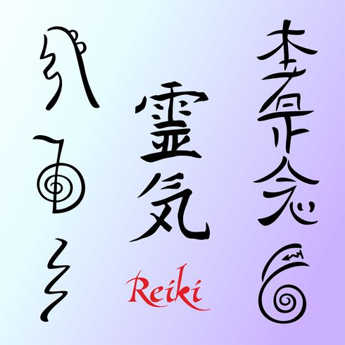 La Energía Reiki. Simbolos Medicina alternativa. Vector.