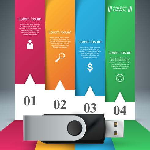 USB icon. Four items paper infographic. vector