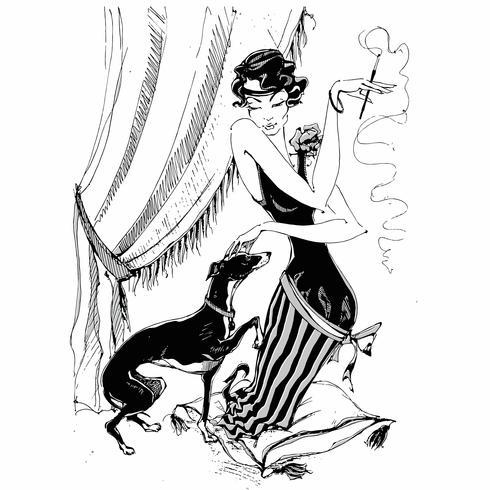 Die Dame mit dem Windhund. Retro-Stil. Grafik. Einfarbig. Vektor.
