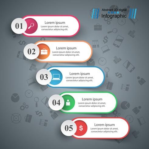Infografía de negocios. Cinco artículos de papel.