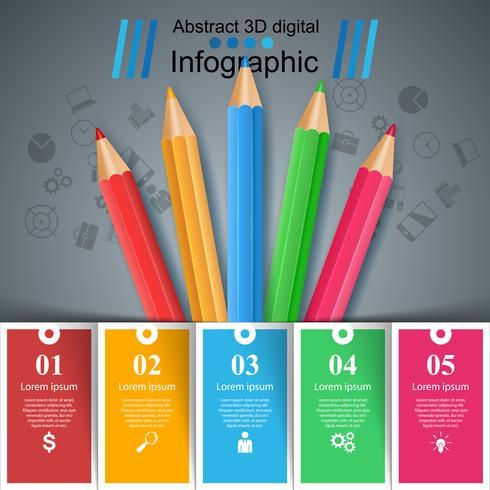 Educazione infografica Infografica di affari di cinque elementi. vettore