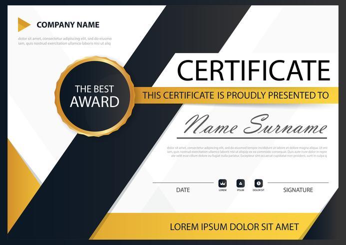 Geel zwart elegantie horizontaal certificaat met vectorillustratie, witte frame certificaatsjabloon met schone en moderne patroon presentatie