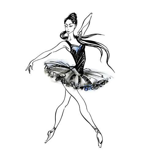 Ballerina. Ballet. Dansend meisje op Pointe-schoenen. Aquarel vectorillustratie.